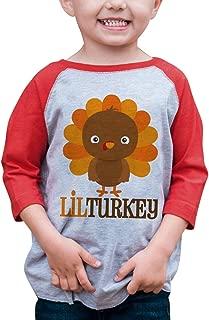 7 ate 9 Apparel Baby Boy's Little Turkey Thanksgiving Red Raglan