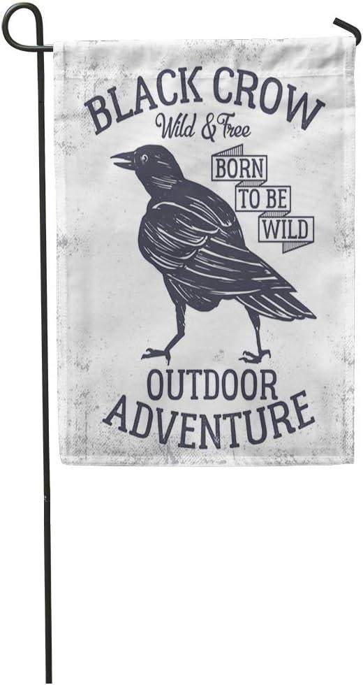 Amazon Com Semtomn Garden Flag Blackbird Black Crow Ink Graphic Forest Painting Vintage Animal Badge Home Yard House Decor Barnner Outdoor Stand 12x18 Inches Flag Garden Outdoor