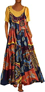Sexy Dresses for Women,Women Plus Size Patchwork Two-Piece O-Neck Short Sleeve Print Vintage Maxi Dress