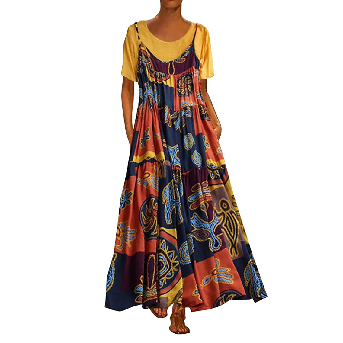 Tomppy Women Plus Size Maxi Dresses Casual Summer Patchwork Two-Piece Short Sleeve Tops + Printed Pocket Sling Long Dress