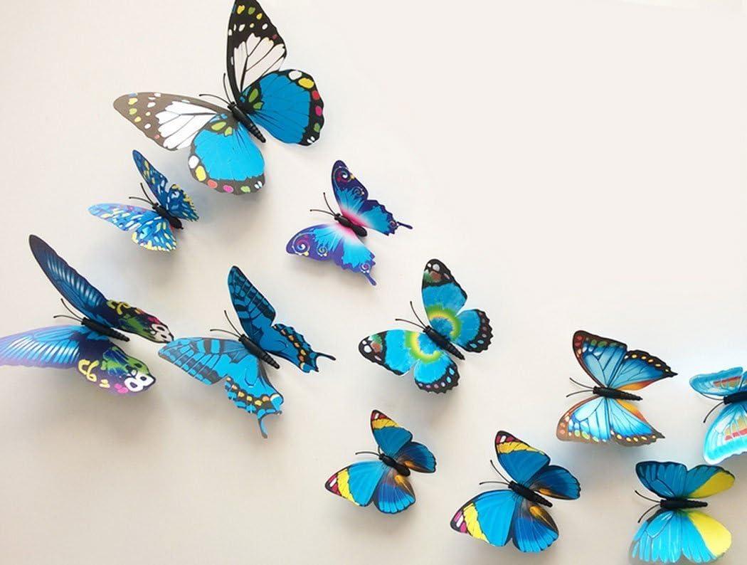 Wall Butterfly Butterfly Art Decal Butterfly Home Decor PVC Butterflies 12 3D Blue Mix Wall Murals Stick Ons. Art Decal