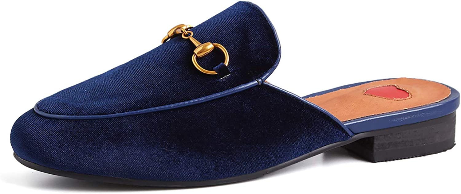HEETIST Women's Backless Mule Loafer shoes with Buckle Slide Round Toe Walking Flat Slipper shoes Slip On