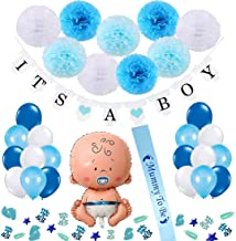 Baby Shower Decorations Boy, 31 Piece It's a Boy Baby Shower Balloons Gift Set Including Mummy to Be Sash, Banners, Pom Poms Flowers and Confeetti for Birthday Boy Decorations