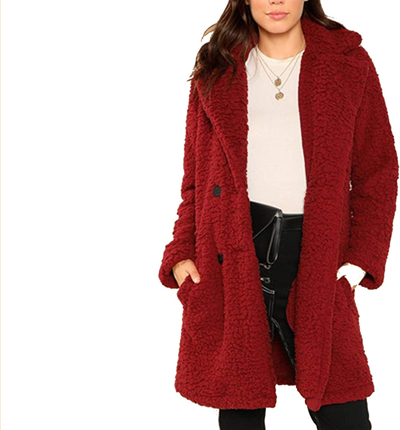 Casual Solid Notched Pocket Double Button Teddy Coat Winter Thermal Office Women Coat and Outerwear