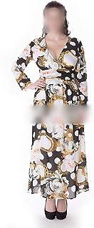 Long Sleeve V-Neck Floral Chiffon Plus Dress Women's (Color : Beige, Size : XXXL)