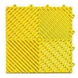 RaceDeck Free-Flow Open Rib Design, Durable Interlocking Modular Garage Flooring Tile (24 Pack), Yellow
