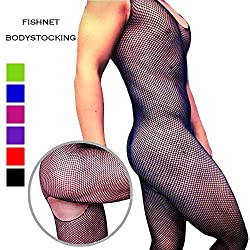 Men's fishnet bodystocking with open crotch
