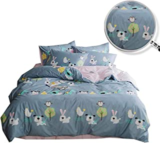 XUKEJU Reversible 3 Pieces Bunny Duvet Cover Cartoon Animal Print Bedding Set 100% COTTON Quilt Cover Twin Size for Boys/Girls