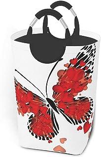 ZCHW Panier à Linge Corbeille de Rangement imprimée Saint Valentin Papillon Coeur Rouge, Panier à Linge avec poignées Pani...