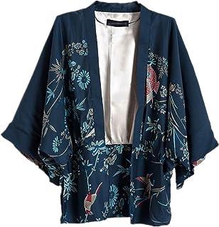 Ihomeu Japanese Style Women kimono Casual Women Blouse Coat (M)