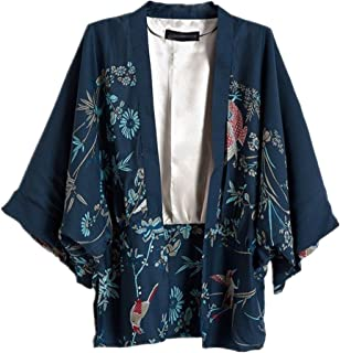 Ihomeu Japanese Style Women Kimono Casual Women Blouse Coat