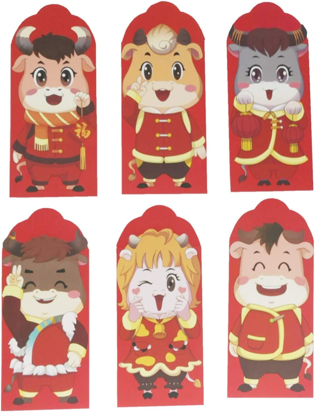 6PCS 2021 Chinese Denver Mall New Year Creative Pocket Money Envelope Sp Red Cheap SALE Start