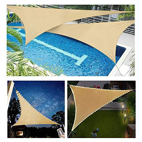 HOXMOMA Sonnensegel Dreieck mit LED-Leuchten, Wasserabweisend, Wetterbeständig, 100% mit UV Schutz - Sonennschutz, Schattenspender, Wetterschutz - Sand,Beige,4x4x4m