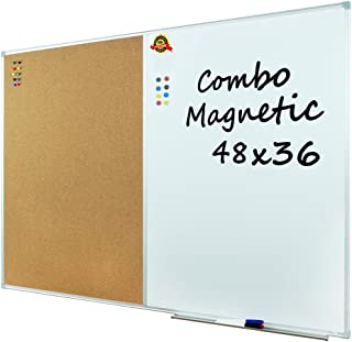 Lockways Magnetic Dry Erase Board and Cork Bulletin Board Combination 48 x 36 Inch, Combo Board Ultra-Slim Silver Aluminium Frame
