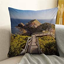 London Pillowcase Hug Pillowcase Cushion Pillow Cape Schanck Boardwalk Runs Towards The Sea Rock Formation Victora Australia Anti-Wrinkle Fading Anti-fouling W20 x L20 Inch Tan Green Blue