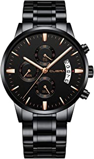 Watch 43mm Stainless Steel Strap Business Casual Fashion Waterproof 3ATM Holiday Gift Black Gold and Silver Man Boy Gentleman Student Quartz Watch, Fashion Watch (Color : Black)