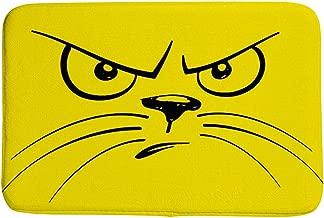 Kuizee Doormat Rugs Cartoon Unhappy Cat Face Coral Fleecemat Indoor Outdoor Non-Slip Water Absorption Living Room Bedroom Bathroom Kitchen Home Decor 36×24 Inch
