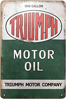 PEI's Triumph Motor Oil Tin Sign, Retro Vintage Metal Sign for Man Cave Garage Home Wall Decor, 8x12 Inch
