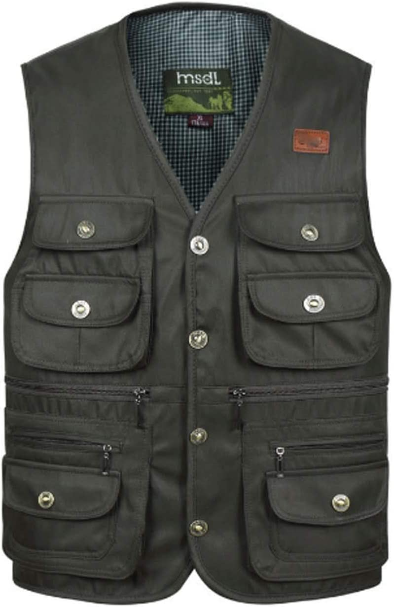XMZFQ Men's Multi-Pockets Vest V-Neck Gilet Spring and Autumn Outdoor Casual Waistcoat Sleeveless Jacket for Fishing Camping Traveling,Army Green Button,L