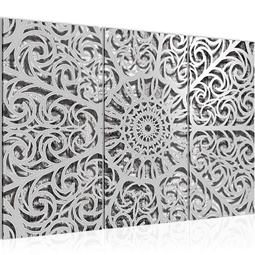 Bilder Mandala Abstrakt Wandbild 120 x 80 cm Vlies - Leinwand Bild XXL Format Wandbilder Wohnzimmer Wohnung Deko Kunstdrucke Grau 3 Teilig - MADE IN GERMANY - Fertig zum Aufhängen 506131a