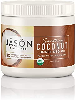 JASON Smoothing Coconut Unrefined Oil (Certified USDA Organic), 15 Ounce Bottle