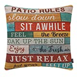 TRENDIN Retro Wood Patio Rules Pillow Cover 18x18 Inch Cotton Linen Square Decorative Cushion Cover Throw Pillowcase for Sofa Couch PL574TR
