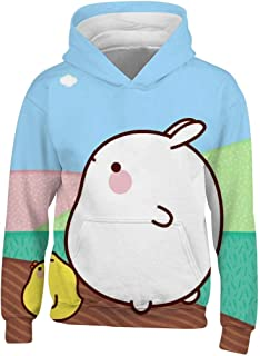 BodFun-3D Youth Hooded Pockets Sweatshirt Cute Mo-Lang 3D Printed Pullover Hoodie