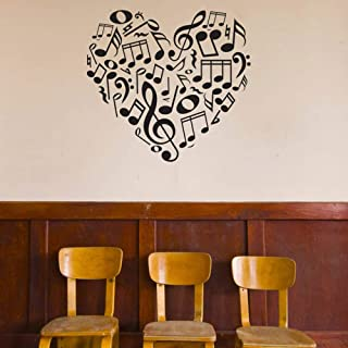 yjnm Music Icons Notes and Symbols Heart Wall Decal Custom Vinyl Art Stickers Wall Stickers Home Decor Living Room Wallpapers 74X79Cm