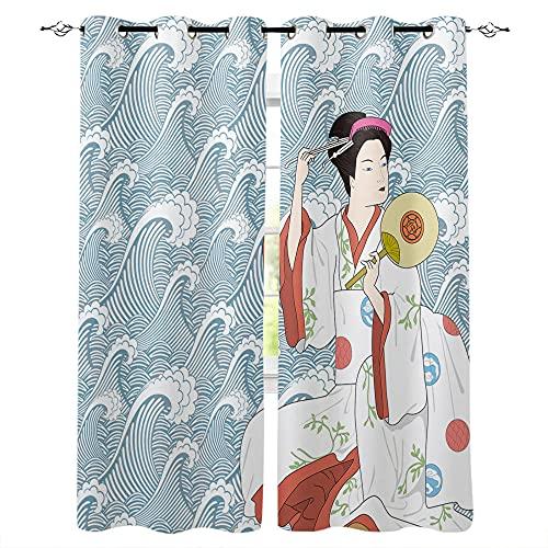 QWFDAQ Cortinas Geisha Japonesa Blanca Azul Cortinas Opacas 110cm x215cm x2 Cortina Opaca- Cortinas Salón Opacas, Dormitorio Moderno, Opacas Suaves, con Ojales