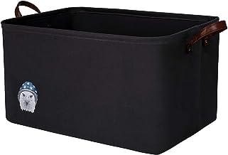 NINIPANDA&LEE Large Storage Basket 22''x15''x13''H. Black Rectangle Laundry Basket, Woven Fabric Storage Bins for Toys .Bl...