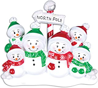 Personalized North Pole Family of 6 Christmas Tree Ornament 2019 - Snowman Parent Children Hat Play Snowball Red Green Candy Cane Sign Winter Activity Tradition Gift Year - Free Customization (Six)