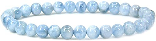 "Handmade Gem Semi Precious Gemstone 6mm Round Beads Stretch Bracelet 7"" Unisex"