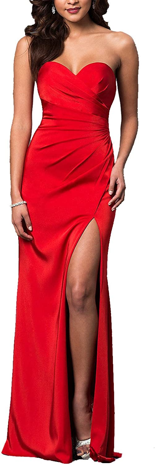 LL Bridal Women's Strapless High Slit Prom Dresses 2018 Sexy Evening Gown LLAP209