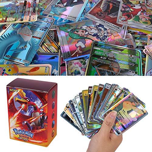 100 Piezas Pokemon Cartas, Pokemon Trading Cards, Sun & Mood Series GX Cartas Energy Trainer Cartas (89GX + 11Trainer)
