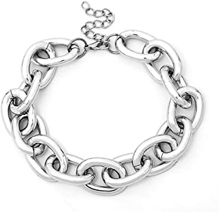 Women Chunky Punk Metal Necklace Fashion Heavy Chain Collar Choker Bracelet Set Women Gift