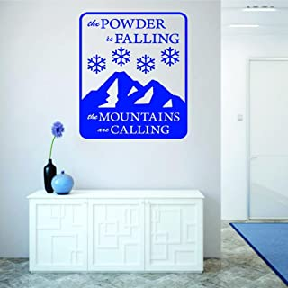Design with Vinyl RAD V 396 2 The Powder Is Falling The Mountains Are Calling Skiing Quote Snow Winter Season Decoration H...