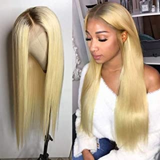 Nobel Hair #4/613 Blonde Peruvian Virgin Human hair Lace Front Wigs for Women With Baby Hair Pre Plucked Ombre Human Hair Wigs Straight Glueless Lace Wigs 12Inch