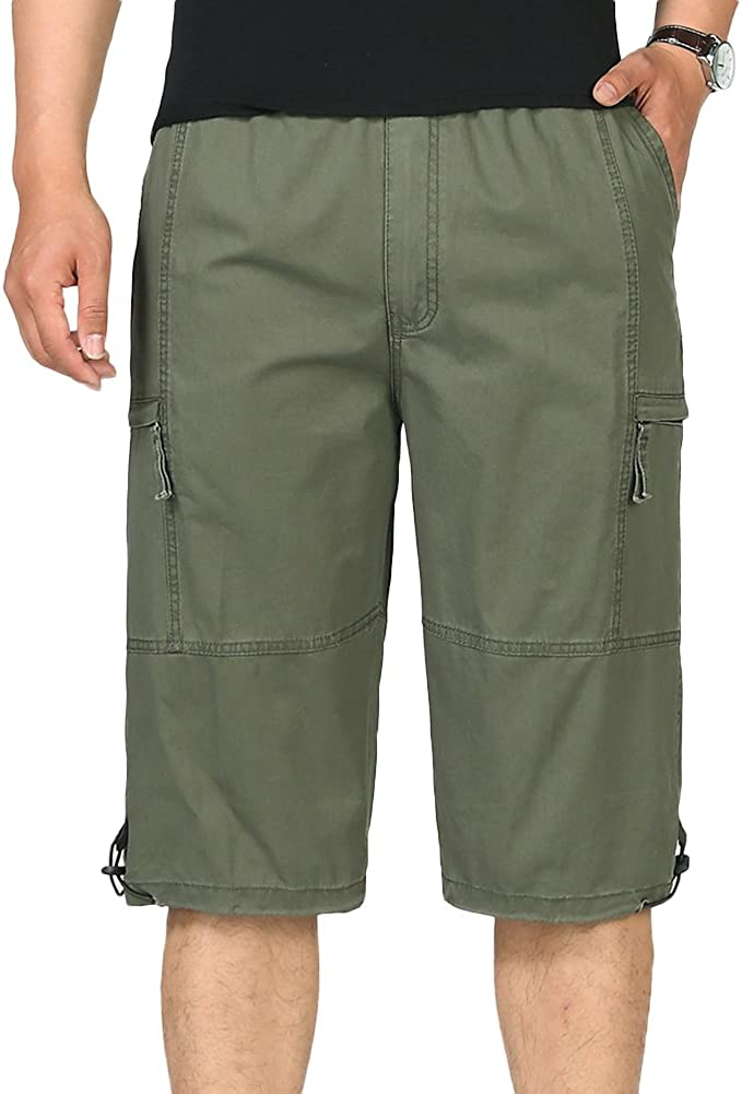 Chickle Men's Straight-Fit Cotton 3/4 Cargo Shorts 2XL Army Green