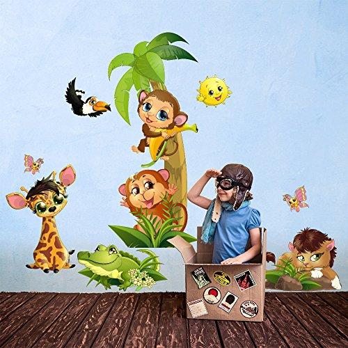 R00364 Stickers muraux Effet Tissu Doux décoration Murale bébé Nouveau-né pépinière Chambre Maternelle Papier Peint adhésif - Animaux Savane Zoo