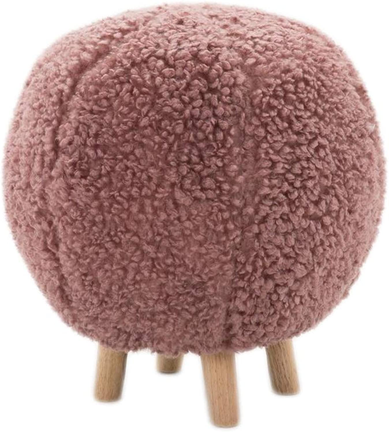 Round Stools, Change shoes Bench, Sofa Solid Wood Footstool (color   Pink)