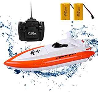 DeXop Remote Rc Boat H800 Rc Boat with High Speed Radio Remote Control Electric Racing Boat for Children, Adults-Orange (Only Works in Water)