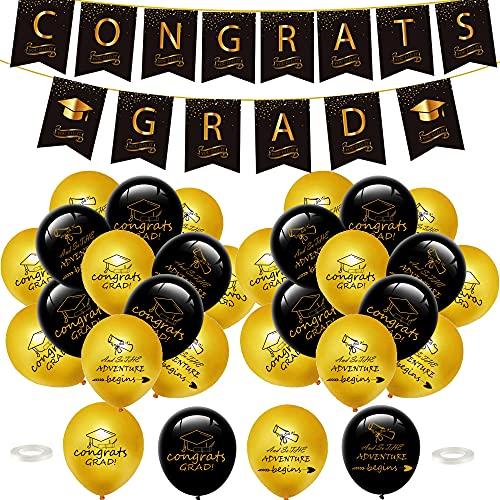Juego de globos para fiesta de graduación – Banner de oro negro globos de látex de felicitaciones globos de confeti para decoración de fiesta de graduación 12 pulgadas