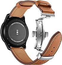 Myada per 22MM Cinturino Samsung Galaxy Watch 46m Pelle, Cinturino Samsung Gear S3 Frontier, Cinturino Samsung Gear S3 Classic, Braccialetto Ricambio Silicone Polso Band Fascia -Marrone