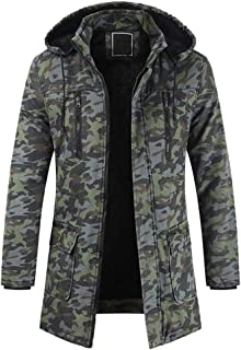 Men's Winter Removable Hooded Frost-Fighter Sherpa Lined Midi Packable Parka Jackets Camouflage