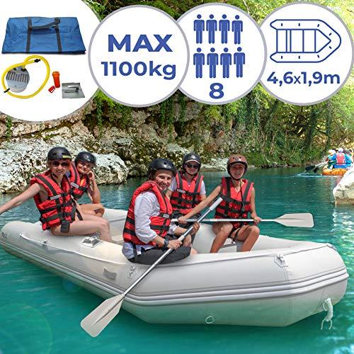 Schlauchboot für 8 Personen - 490 x 190 cm, 2 Alupaddel, Fußluftpumpe, bis 1100 kg, mit Aluboden, für 8 Erwachsene und eventuell 1 Kind - Ruderboot, Paddelboot, Angelboot, Gummiboot, Sportboot