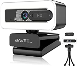2K Ultra HD Webcam with Dual-Microphone,BAVEEL 1s Fast Auto Fixed-Focus Streaming Webcam with 3-Level Adjustable Ring Ligh...