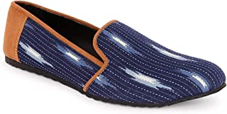 KANVAS Men Blue Printed Moccasins