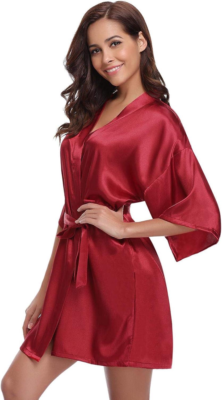 Abollria Damen Morgenmantel Satin Kimono Kurz Robe V Ausschnitt Bademantel mit Gürtel Wellness Junggesellenabschied Rot