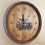 Central Coast Creations Barrel Top Wine Glass Large Wall Clock - Wine Barrel Handcrafted Wine Barrel Furniture