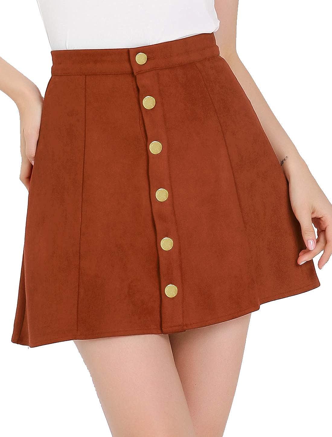 Allegra K Women's Faux Suede Button Closure A-Line High Waisted Flared Mini Short Skirt
